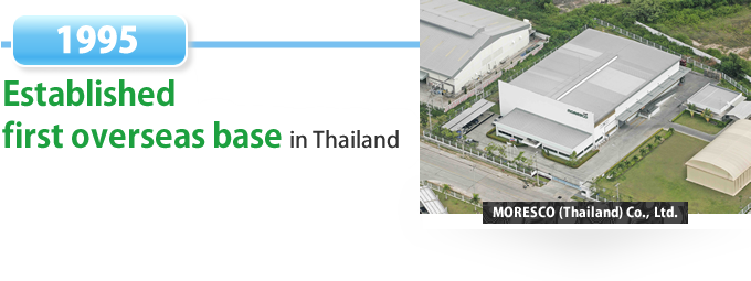 1995 Established first overseas bases in Thailand